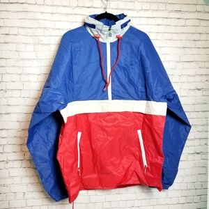 [VINTAGE] K-WAY hooded packable nylon rain jacket